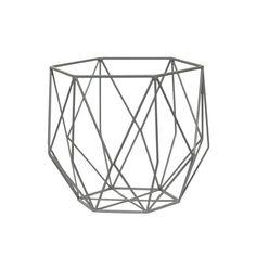 object style grey geometric metal basket