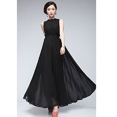 Women's Chiffon Pleated Maxi Dress - USD $ 29.39