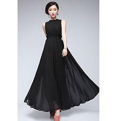 Women's Chiffon Pleated Maxi Dress – USD $ 24.59