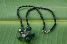 Onyx Bead – Flower Pendant Necklace - DISCOUNTED 36%! from $61, NOW ONLY $39, plus FREE DELIVERY WORLDWIDE! Give your look with sparks with this wonderful onyx floral necklace! #onyx #necklace #sparkly #flowerpendant