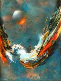 Artist: Leonardo Nierman, Mexican (1932- )  Title: Comet  Year: circa 1972  Medium: Oil on Masonite, signed and dated l.l.  Size: 31.5 x 22.5 inches