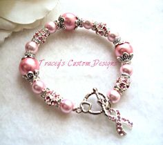 Stunning Breast Cancer Awareness Bracelet  by TraceysCustomDesigns, $29.99