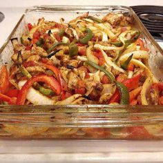 ** Oven baked fajitas over black beans and rice