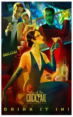 "Tales of the Cocktail Unveils the Official 2013 Poster ""Drink It In"" ~ This summer the industry's most influential bartenders and spirit lovers from around the globe will drink in every ounce of cocktail knowledge and culture at Tales of the Cocktail 2013. The world's premier cocktail festival returns to New Orleans with another non-stop schedule of educational seminars, tasting rooms, Spirited Dinners, Spirited Awards, competitions and more. July 17-21, 2013. #New_Orleans…"
