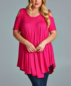 Look at this #zulilyfind! Hot Pink Cutout Shell Top - Plus by Emerald Fashion #zulilyfinds