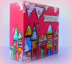Art Mixed Media collaged houses on wood by cathymichaelsdesign