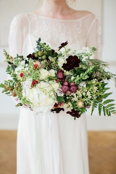 Bouquet Flowers Large Whimsical Bride Bridal Brown Green Cream Burgundy Cosmos, Snapdragons Zinnia Clematis Wild Opulence Autumn Wedding Ideas http://www.storyweddingphotography.co.uk/