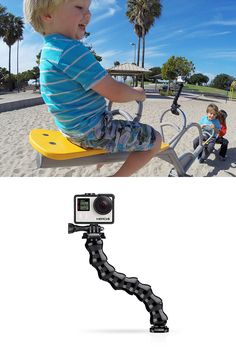 "GoPro Gooseneck Mount - Measures 8"" (20.3cm). - Delivers versatile camera-angle adjustability to capture a wide range of perspectives - Can be attached to any GoPro mount that features a quick release base - Doubles as an adjustable handheld camera grip. - Makes it possible to elevate the camera above the mounting surface to achieve a higher perspective. - Ideal for capturing hard-to-reach shots around corners or over obstacles."