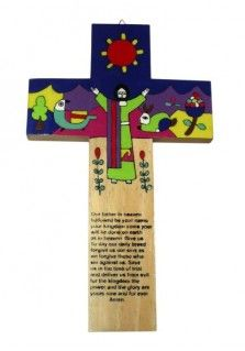 EL SALVADOR CROSS OUR FATHER 35CM: This 35cm cross was handpainted in El Salvador. It features the Our Father prayer on the lower stem. The upper section depicts Jesus surrounded by images from nature. Design may vary. Also available in a smaller size.