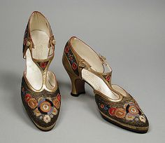 Pair of Woman's T-Strap Sandals, André Perugia circa 1922. Kid leather, mesh, sueded leather, embroidery. LACMA Collections