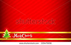 Merry Christmas text and red background vector illustration - stock vector