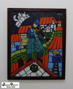 """Mosaic Wall Art """"Fiddler on the Roof"""" (25x20cm). Inspired by Chagall's paintings. Made with Venetian tiles, hand painted clay tiles, ceramic tiles, glass, mirror and millefiori on wood MDF) 20x25 cm about 9.84 x 7.87 inches. #MosaicWallArt #Chagall #FiddlerOnTheRoof #JoGranadosMosaics #Cat #WhiteCat #Flyingcat #NaiveArt"""