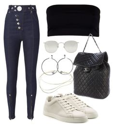 """Untitled #3892"" by camilae97 ❤ liked on Polyvore featuring AllSaints, Alexander Wang, Fendi, Linda Farrow, Elsa Peretti and Chanel"