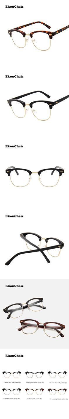 EkouChaiz Classic Semi-Rimless Glass Frame Fashionable Comfortable Solid Unisex Alloy PC Frame Glass Clear AC Lens Decoration