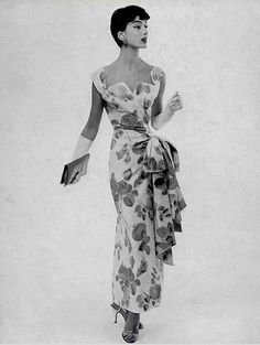 Cotton floral print evening dress gathered to one side at …   Flickr