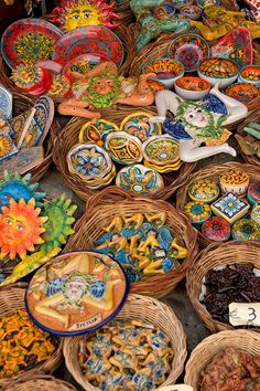 Pottery and Ceramics at a market in Sicily, Italy.