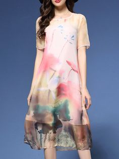 Multicolor Crew Neck Polyester Floral Casual Midi Dress