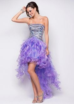 Discount Beautiful Strapless with Sequins Hi-Lo Organza Prom Dress Online