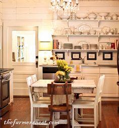 Open shelves over shiplap walls (The Farmer's Nest: Kitchen {Home Tour})