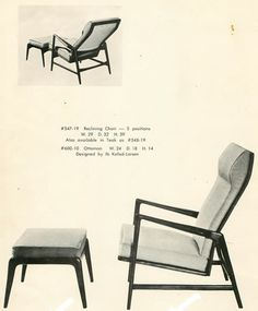 Ib Kofod-Larsen 537-19 Reclining Chair with 600-10 ottoman