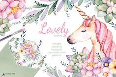 Lovely Flowers&Unicorn - Illustrations