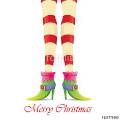 Vector: vector christmas card with with elf girls legs