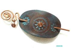 Leather Hair Barrette With Copper Stick Wire Art by ISHAOR on Etsy, $25.00