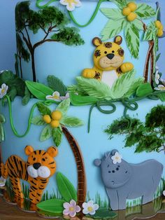 jungle cake - Sarah wants this one Jungle Safari Cake, Safari Cakes, Jungle Theme, Beautiful Cakes, Amazing Cakes, Zoo Cake, Animal Cakes, Occasion Cakes, Animal Party