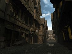 medieval alleys lane alley cobblestone middle ages dark morning 3d wallpaper Medieval life City landscape Medieval