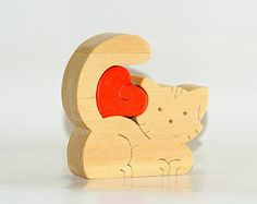 Wood Puzzle Cat Angler toy. Wooden handmade toys by Ecopuzzle