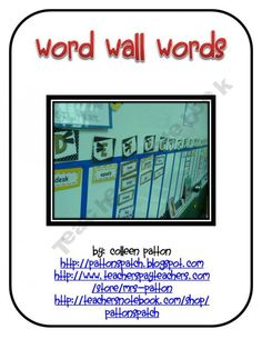 FREE Kindergarten and First Grade Word Wall Words