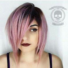 Pink ombre, short bob hair cut