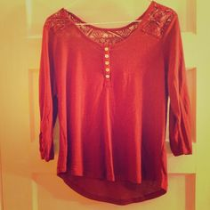 Maroon lace shirt Half sleeved maroon shirt with lace on upper back, and shoulders, white buttons go an inch or two down the shirt. Also available in dark blue but the top two buttons are missing because they broke off. Maroon in good condition besides a few strings, is sized large but would fit medium or small  always open to reasonable negotiations through offer button ✨buy 2+ items for 15% off✨ Tops Blouses