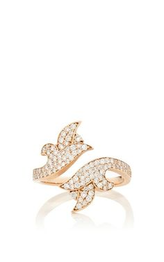 White diamond french tulip bi-pass ring by SARA WEINSTOCK Preorder Now on Moda Operandi