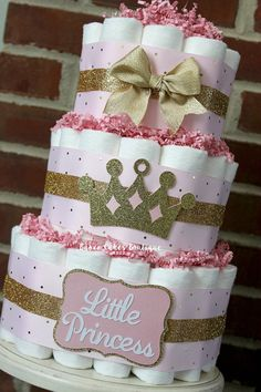 3 Tier Pink and Gold Princess Diaper Cake by BabeeCakesBoutique