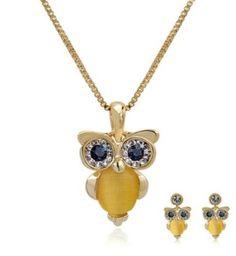 Luxury Golden Owl Necklace Earrings Jewelry Set with Rhinestone Eyes