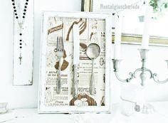Bilderrahmen mit Vintage-Besteck im Shabby-Stil www.nostalgieschmiede.de