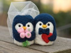 CUSTOM Needle Felted Wedding Cake Topper - Penguin Couple