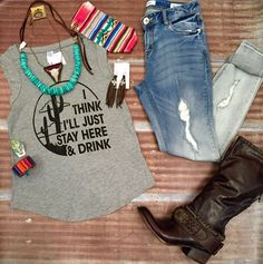 """#OOTD Featuring Southern Trends designed """"I think I'll just stay here and drink tee""""!!"""