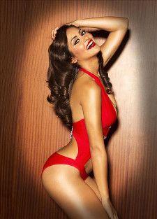 Miss Puerto Rico 2012 contestant Shaleyka Velez Aviles in red swimsuit