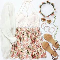 | Creme Crochet Knit Crop Top | Pink Floral Skirt | White Knit Cardigan | Brown Sandals | Layered Necklaces | Pink Flower Crown | Heart Shaped Sunglasses | Pink Beaded Bracelets |