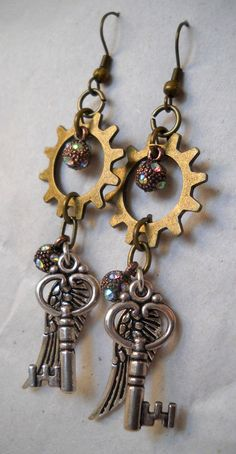 Handmade Fanciful Steampunk Earrings 'Keys to the Wind' by BarbwireCreations, $17.69       -Sold-