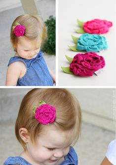 diy fabric flowers hair clips.