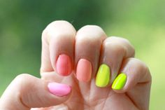 Keeping up with the Joneses: Model's Own Polish for Tans Giveaway. Neon Ombre Mani #nails #giveaway