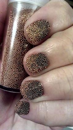 Ombre caviar nails. #manicure #nailart