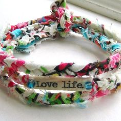 bracelet, fabric bracelet, fabric braided bracelet, wrist wrap, fabric wrist wrap, word bracelet, anklet braid, Love life bracelet - No. 24    My braided fabric word wraps can be worn two ways -- wear as a wrist wrap bracelet, or as a bohemian style anklet. I carefully select pretty fabrics and tightly hand braid fabric strands. Each bracelet features inspiration words - which Ive printed on natural muslin and hand sewn in place. Two small glass beads adorn each side of the message. This…