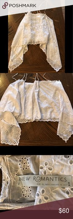 Romantics by Free People Vintage Lace Inspired Top So very pretty. Inspired by your grammas lace but with a modern update. Spaghetti strings done in a rose bud design features double strings, silver beads.  Handkerchief Hem.  Brand new with tags. Free People Tops