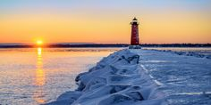 Winter sunset at Manistique Lighthouse