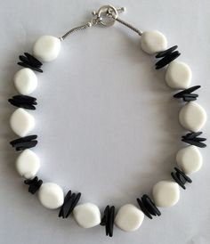 Black and white necklace featuring stone white by NeckCandyLove