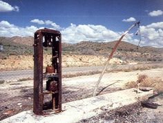 Route 66 - Ghosts of the Past - Old gas pump on abandoned stretch of the road.